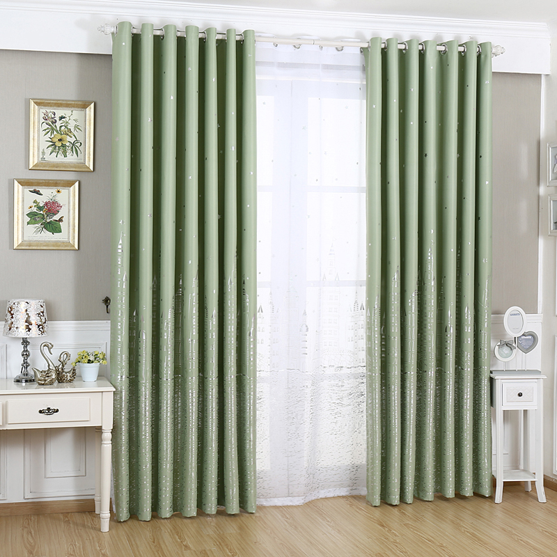 funique european style hot silver castle pattern decorative curtain full light shading drapes curtain for bedroom living room in curtains from home garden