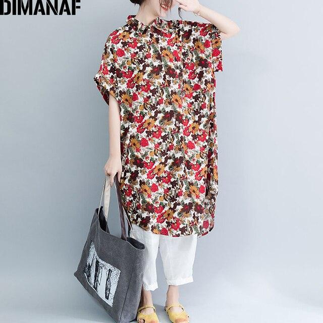 003f53db25 DIMANAF Plus Size kobiety sukienka w stylu Vintage duży rozmiar kobiet  Vestidos lato Sundress luźne drukuj Floral Lady elegancka długa sukienka  koszulowa