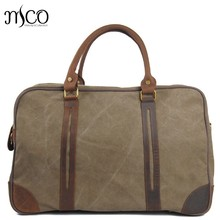 Vintage Military Luggage Travel Bags Large Capacity Weekend Handbag Waterproof Oil Wax Canvas Men Travel Duffel Overnight Tote(China)