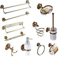 Luxury bathroom hardware set Solid Brass Antique hairdryer bathroom accessories products J308