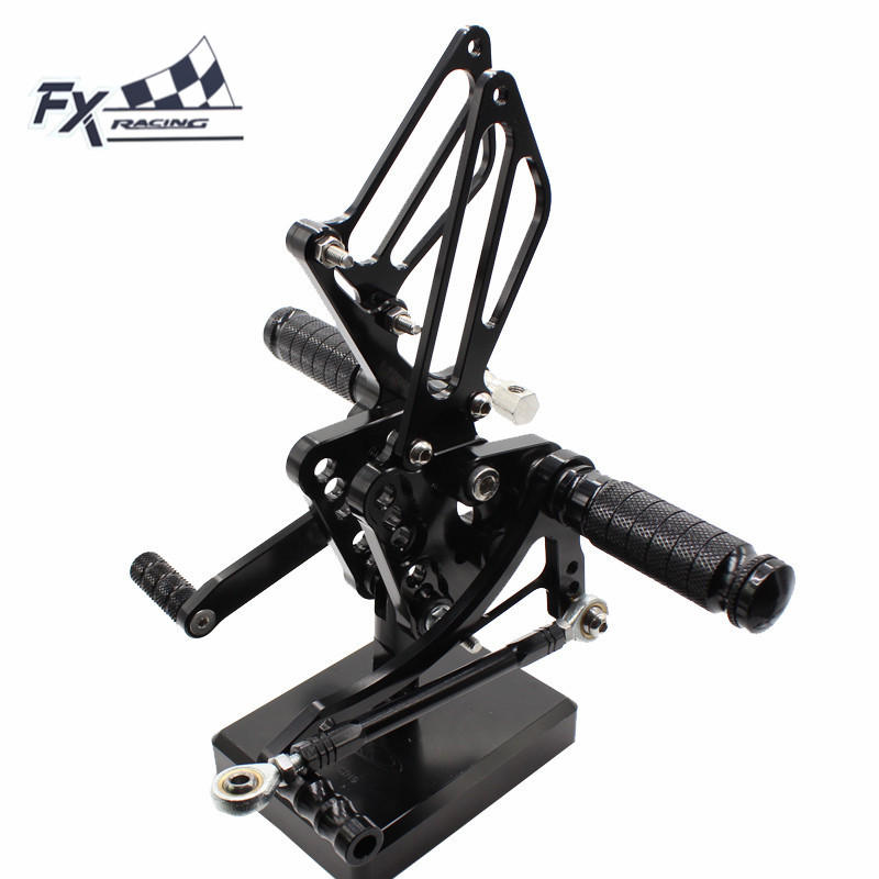 CNC Aluminum Motorcycle Foot Pegs Rest Footpegs Pedals Rearset Footrest Rear Set For Suzuki GSXR1000 GSXR 1000 K5 K6 2005 2006 cnc aluminum motorcycle adjustable rearset rear set foot pegs pedal footrest for kawasaki ninja 650 ex650 er 6n er 6f 2012 2016