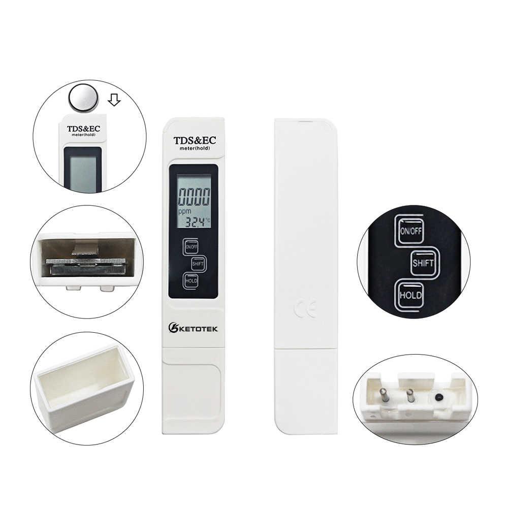 Portable Digital PH Meter 0.00-14.0 Ph Tester TDS & EC Meter Thermometer 0-9999us/Cm 0-9999ppm 0.1- 80.0 Derajat Air Berkualitas Monitor