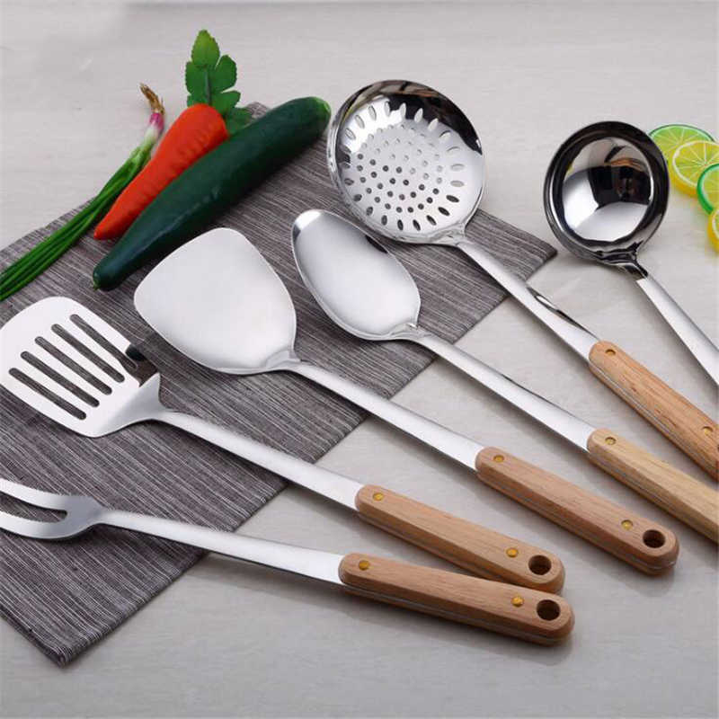 High Quality 7 Types Stainless Steel Slotted Turner Spatula Heat Resistant Non-stick Fish Frying Kitchen Cooking Tools