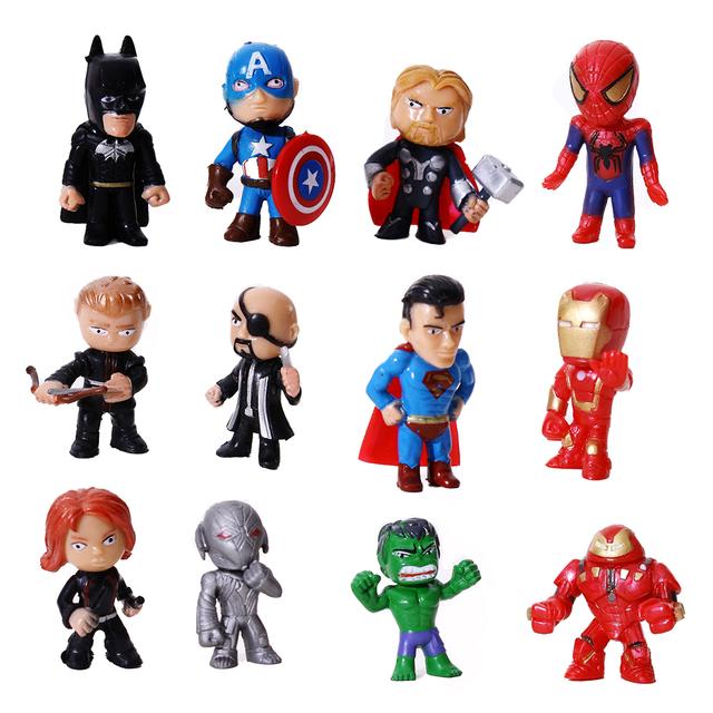 8pcs/lot The Avengers Miniatures Marvel PVC Action Figures Spiderman Figurines Kids Toys hulk Captain America superman batman
