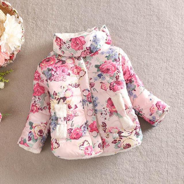 Best Price Clearance Fashion Winter Baby Kids Girls Cotton padded jacket Thicken Floral print Bow Coat Outerwear girl clothes Flower