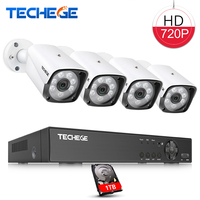 Techege 8CH 720P AHD DVR CCTV 1080p HDMI w 4pcs AHD 720P 1300TVL IR Weatherproof CCTV Camera Security System Surveillance Kits