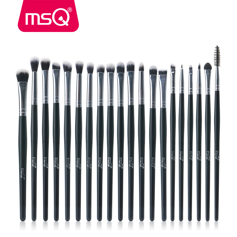 MSQ 20 stks / set Professionele Oogschaduw Foundation Wenkbrauw Lip Borstel Up Kwasten Cosmetische Tool Mengen Make Up Eye Borstels Set