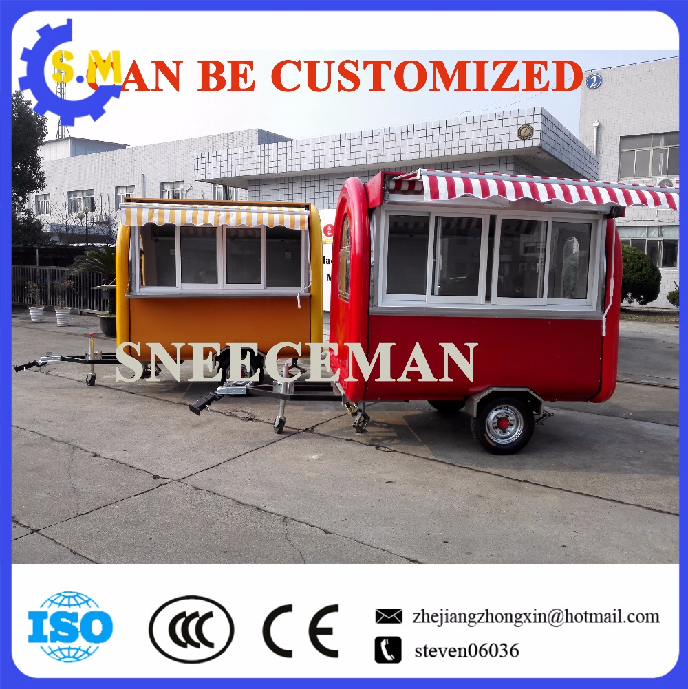 customized design mobile hot dog vending cart food cooking trailer with good quality chinese outdoor food kiosk catering carts