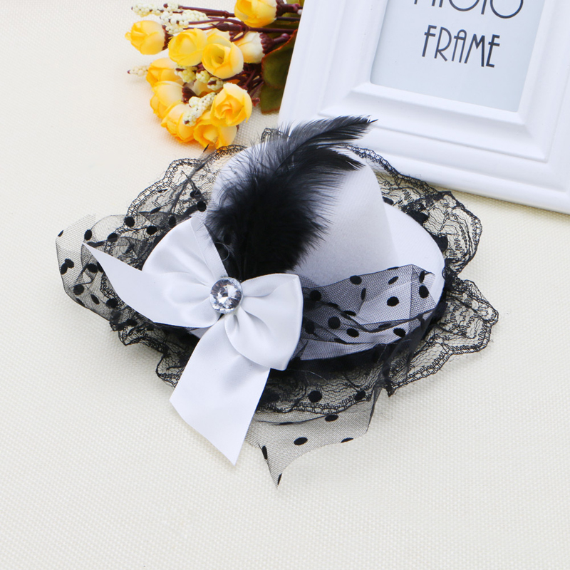 Women Bow Hair Clips Lace Feather Mini Top Hat Fancy Fascinator Party