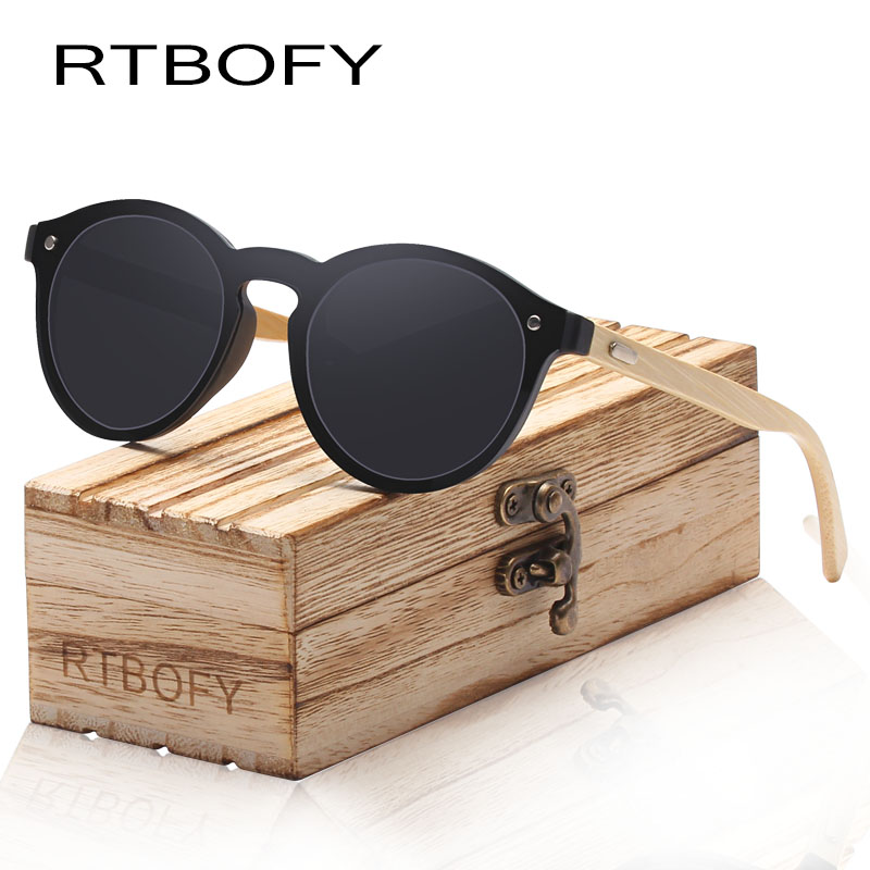 RTBOFY Wood Sunglasses for Women & Men Bamboo Frame Glasses Handmade Wooden Eyeglasses, with Free Bamboo Gift Case