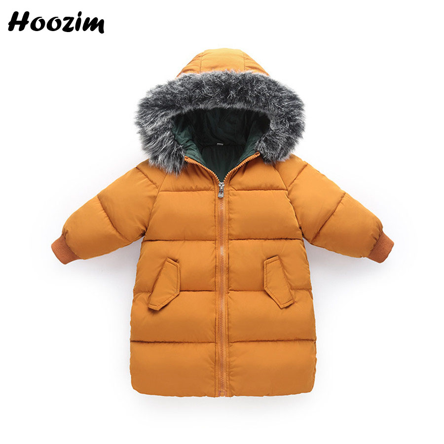 Winter Jacket For Boy 4 5 6 7 8 Years European Cotton Parka Kids Casual Children Coat With Faux Fur Autumn Long Jacket For Girls цена 2017