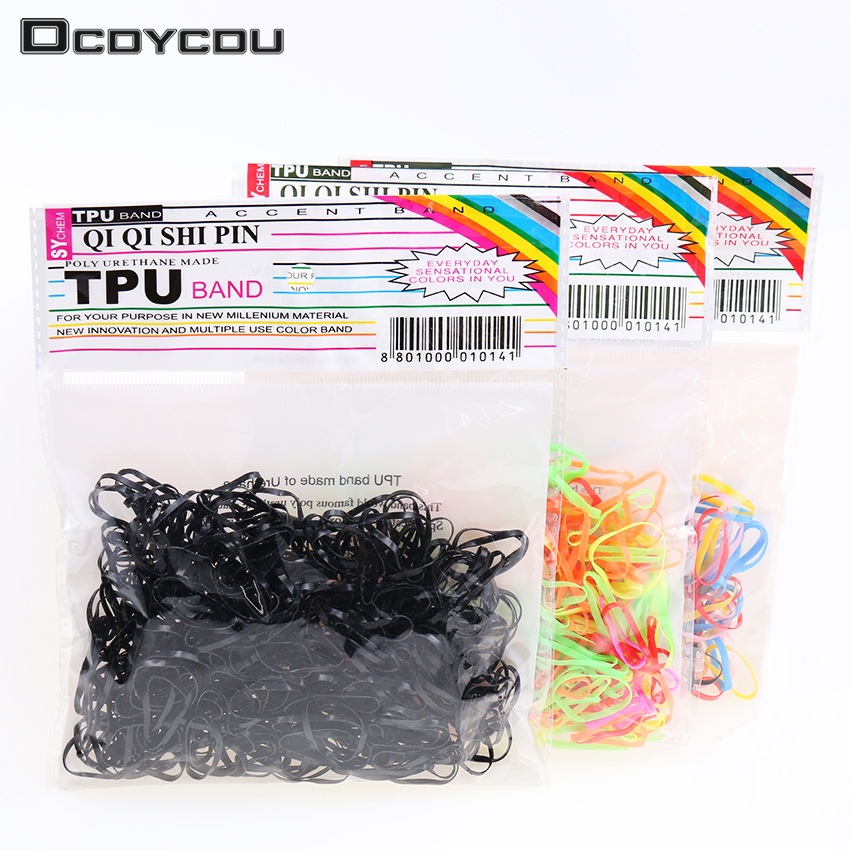 300pcs/pack Rubber Rope Ponytail Holder Elastic Hair Bands Ties Braids Plaits Hair Clip  ...