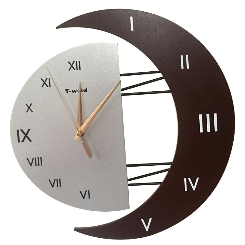 Personalized Moon Wall Clock Fashion Brief Clock Modern Silent