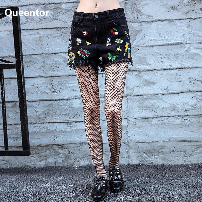QUEENTOR Original 2017 Brand Denim Shorts Female Autumn Embroidery Black Fashion Short Jeans Wwomen Wholesale рубашка мужская brooks brothers me00344