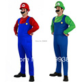 super mario costume with Hat and beard  Luigi Brothers Plumber Costumes For Halloween M-XL
