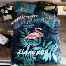 Flamingo Fleece Duvet Cover Set Queen Bedding Sets For Adults Green Leaves Printed Flannel Duvet Cover Soft Bed Sheet Pillowcase(China)