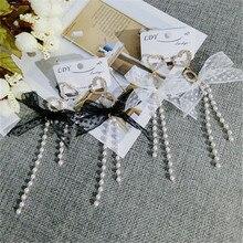 Korea Handmade Lace Bowknot Pearl Tassel Rhinestone Heart Women Drop Earrings Dangle Earrings Fashion Jewelry-QQD5
