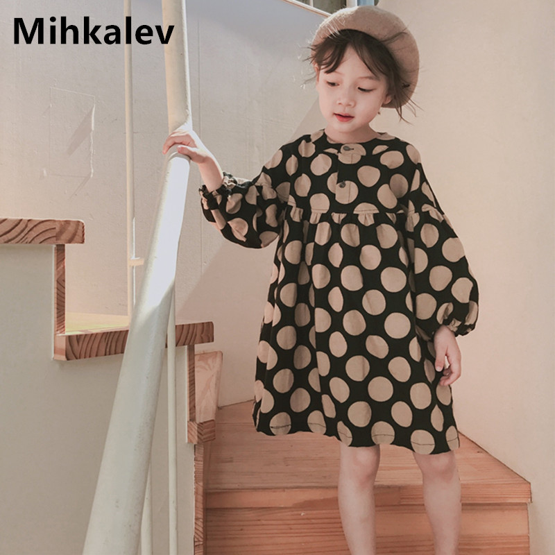 Mihkalev Baby dress girl autumn clothing 2018 cute polka dot girls long sleeve dresses for children cotton dress costume fashionable round neck long sleeve polka dot pattern dress for women