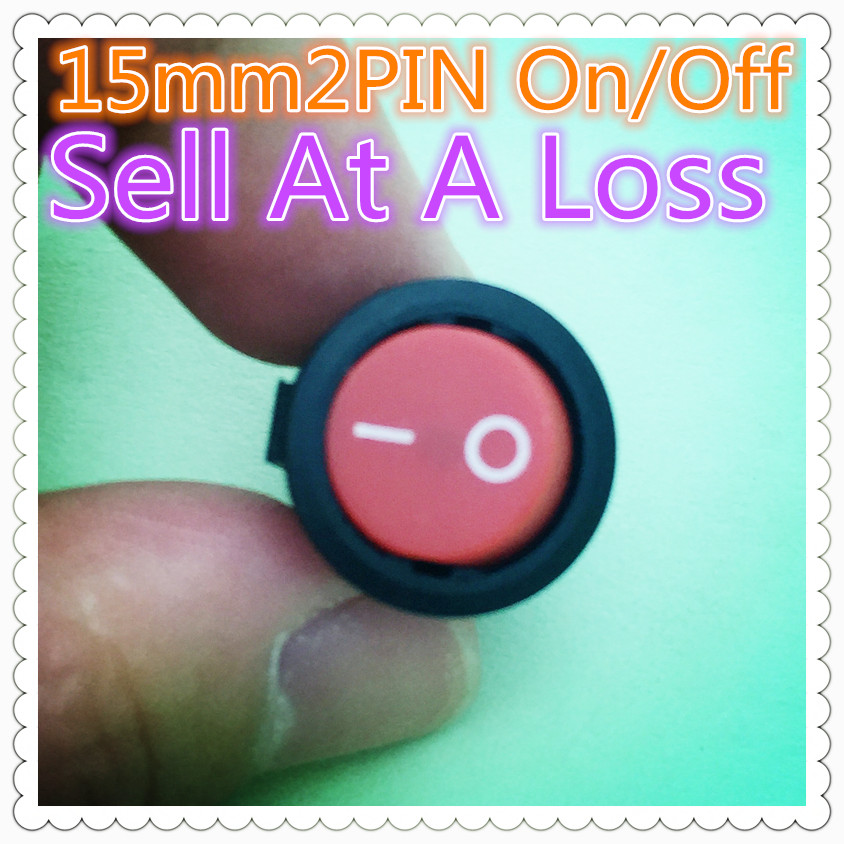 10pcs G114 15mm RED SPST 2PIN On/Off Round Boat Rocker Switch 3A/250V Car Dash Dashboard ...