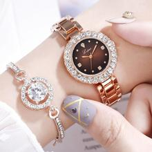 New Women Crystal Watch Bracelet Set Female Jewelry Luxury Diamond Rose Gold Fashion Starry Quartz For Lady Gift