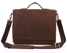 Vintage Brown Crazy Horse Real Genuine Leather Men Messenger Bags Cowhide Portfolio Men's Briefcase Travel Bag #MD-J7108R