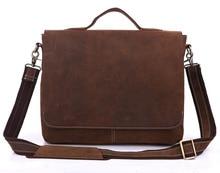 цена на Maxdo Vintage Brown Crazy Horse Real Genuine Leather Men Messenger Bags Cowhide Portfolio Men's Briefcase Travel Bag #MD-J7108R