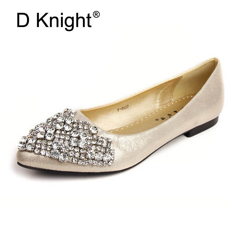 Fashion Pointed Toe Rhinestone Flats For Women Elegant Metallic Pu Crystal Women Flats Ladies Casual Slip-on Flat Wedding Shoes buckle straps embellished women pu leather flat heel shoes korean fashion new 2017 ladies slip on designer flats round toe