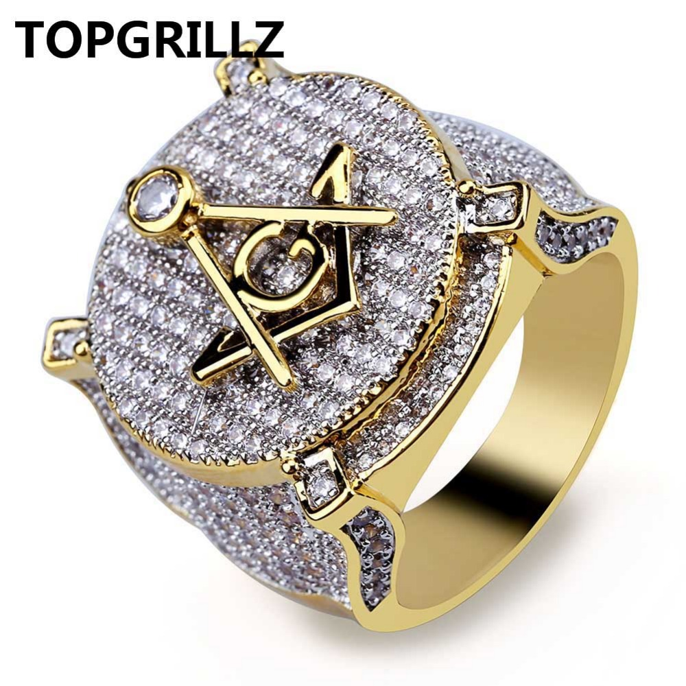 TOPGRILLZ Hip Hop Gold Color Plated Brass Iced Out Micro Pave Cubic Zircon Masonic Ring Charm For Men Gifts With 7 8 9 10 11 hot selling natural onyx 18k gold plated masonic memorial religious party ring size 7 8 9 10 11 12 13 14 15