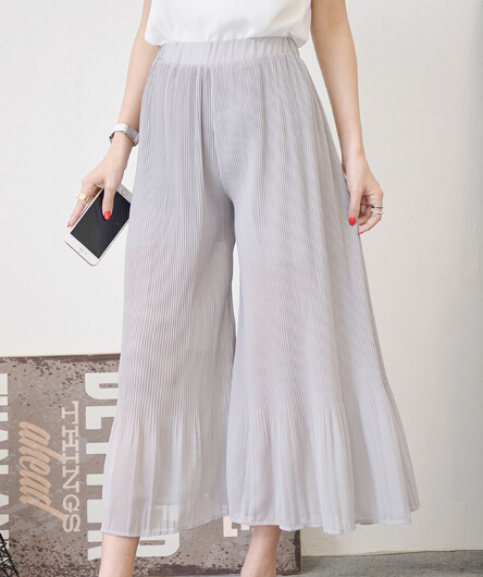 Free Shipping Summer New Arrival Cool High Waist Pleated Chiffon Woman Wide Leg Pants