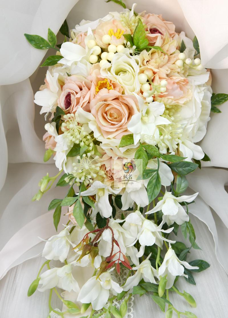 Aliexpress buy waterfall style handmade wedding bridal bouquet aliexpress buy waterfall style handmade wedding bridal bouquet orchid rose artificial flowers bride wedding holding flower bridesmaid bouquets from izmirmasajfo