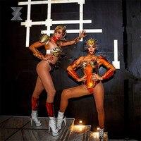 EC73 Gold color robot Armor stage dance costumes model dress wears female rivet outfits helmet show bodysuit dj clothe party bra