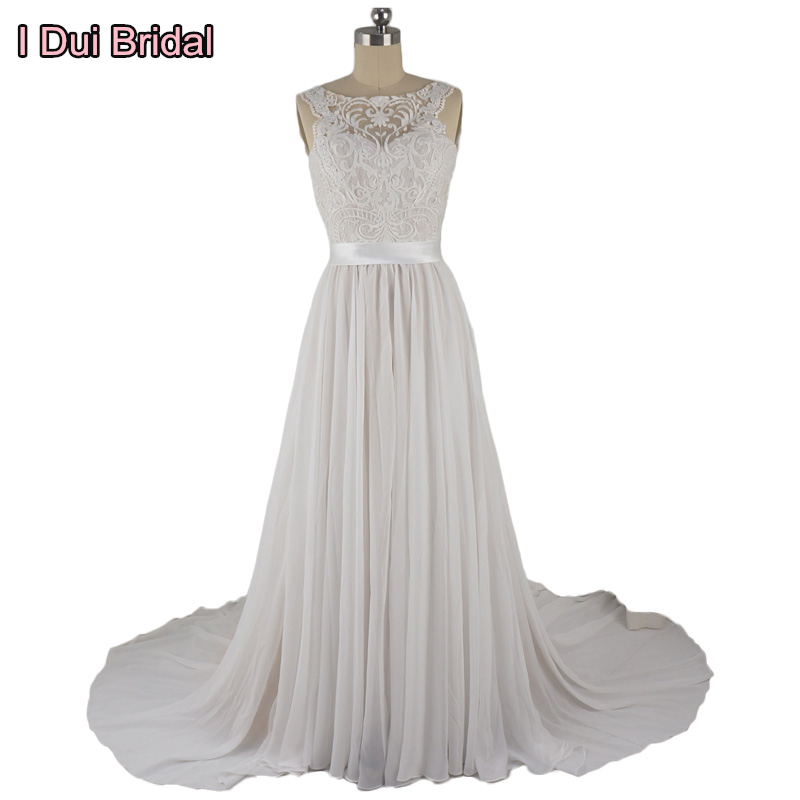 Lace Chiffon Wedding Dresses Real Photo Bridal Gown with Belt Factory Custom Made ELS0006