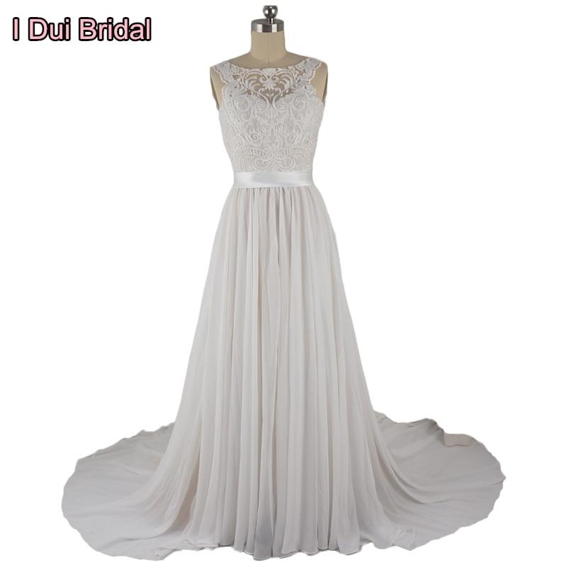 Lace Chiffon Bröllopsklänningar Verklig Foto Brudklänning med Bältefabrik Custom Made ELS0006