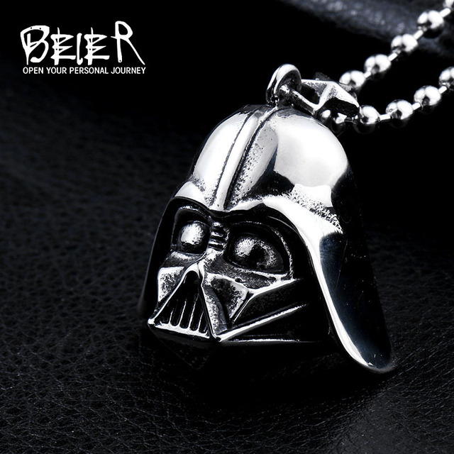 Darth Vader Stainless Steel Pendant Necklace For Man Woman Black & White Steel