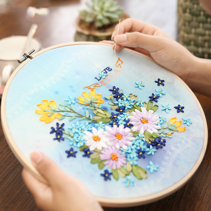 1Set Handmade Embroidery DIY Cloth Material Package Sticky Embroidery Ribbon Embroidery Kit Living Room Paintings With Frame