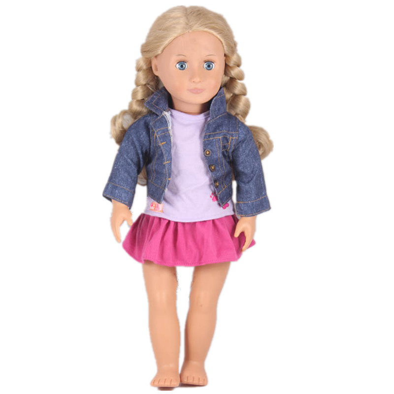 Doll Clothes Our Generation Purple T-shirt Jean Coat Skirts For 18 inch American Girl Doll Best Birthday Christmas Gift цены онлайн