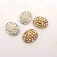 2017 new design wholesale crystal pearls oval domed metal flatback button wedding jewelry ornament accessory 30pcx free shipping