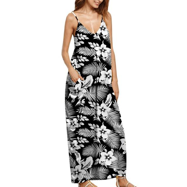 f58f5bb077ab Women New Casual Summer Black white print Long Evening Party Sleeveless Dress  Hawaii Style Dresses summer dress vestidos verano