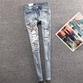 2017 New Spring Autumn Jeans Women Casual Skull Denim Pants Ripped Hole Elastic Ladies Skinny Pencil Pants Plus Size C597