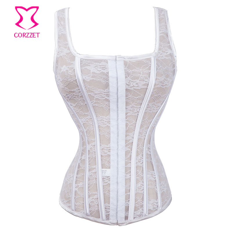 Sexy hollow out lace corset white wedding bustier tank for Corset bras for wedding dresses
