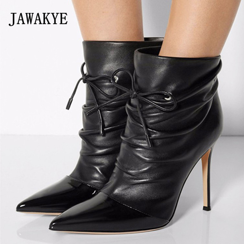 2018 Sexy Ankle Boots Woman Pointed Toe Patchwork Bow Bandage Ankle Strap High Heel Boots Women Short Boots centaur no bow bandage 14x30