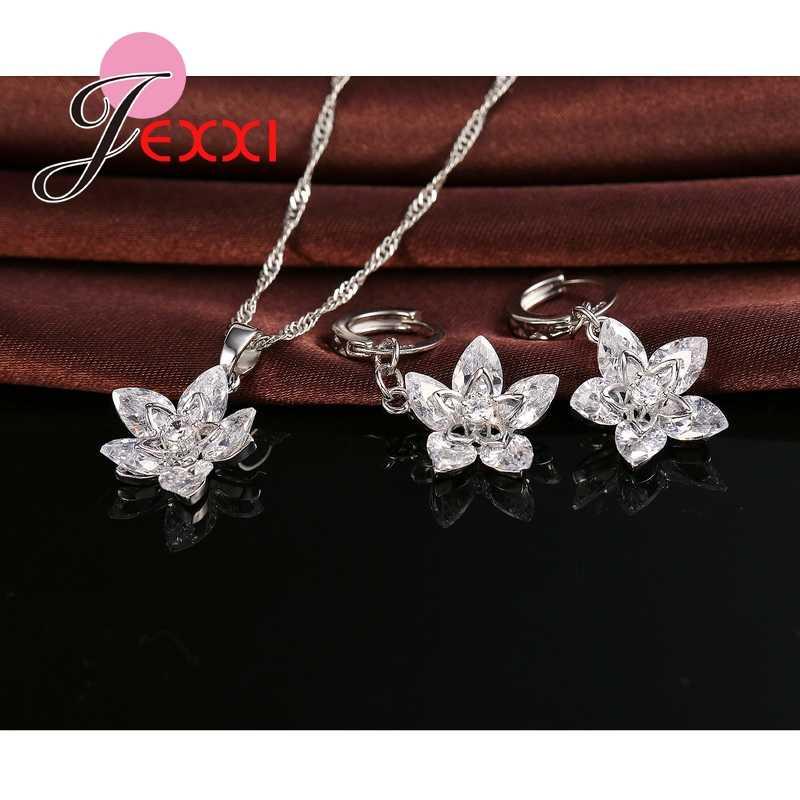 Klassische 925 Sterling Silber Kristall Blume Anhänger Halskette + Ohrringe Set Braut 925 Sterling Silber Geschenk Schmuck Set