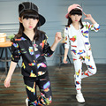 Girls Spring Bird Print  Long - sleeved two-piece Sets Girl Sport  Clothes Suit