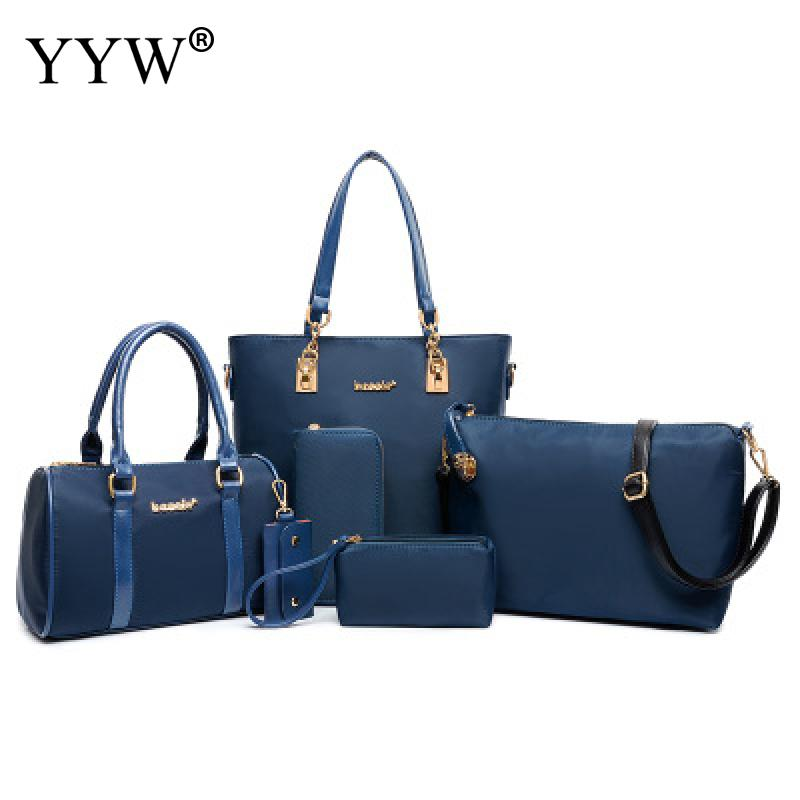 6 PCS/Set Solid Color PU Leather Handbags Women Bag Set Famous Tote Bag Lady's Shoulder Crossbody Bags Top-Handle Bag