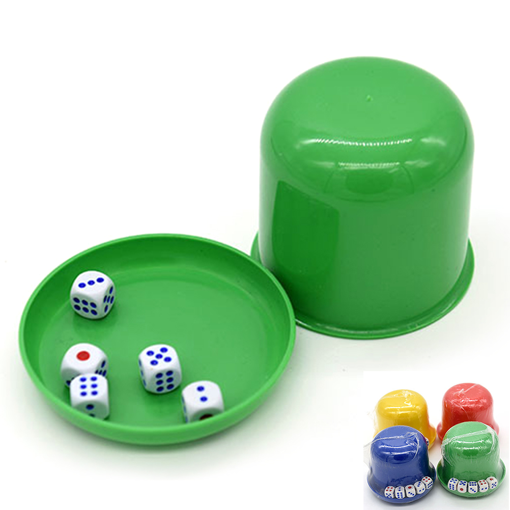 Plastic Dice Cup With Lid And 5 Dice For KTV Party Bar (Dice Cup Random Color)