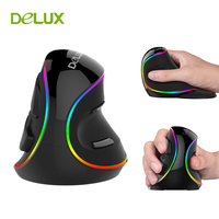 Vertical Mouse Ergonomic Right Wired Delux M618 Plus RGB 6 Button 1600 4000 DPI Computer Ergonomic Mouses Wired USB for PC 2018