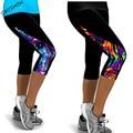 2016 Mujeres de Las Polainas de Cintura Alta Femeninos Pantalones Impresos Stretch Leggings Recortada Casual Miti-Colores Sólo los Leggings