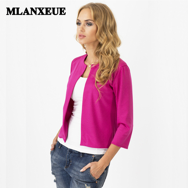 Solid no-breasted slim blazers suit cardigans no-collar casual suits women blazers and jackets office work wear elegant suits