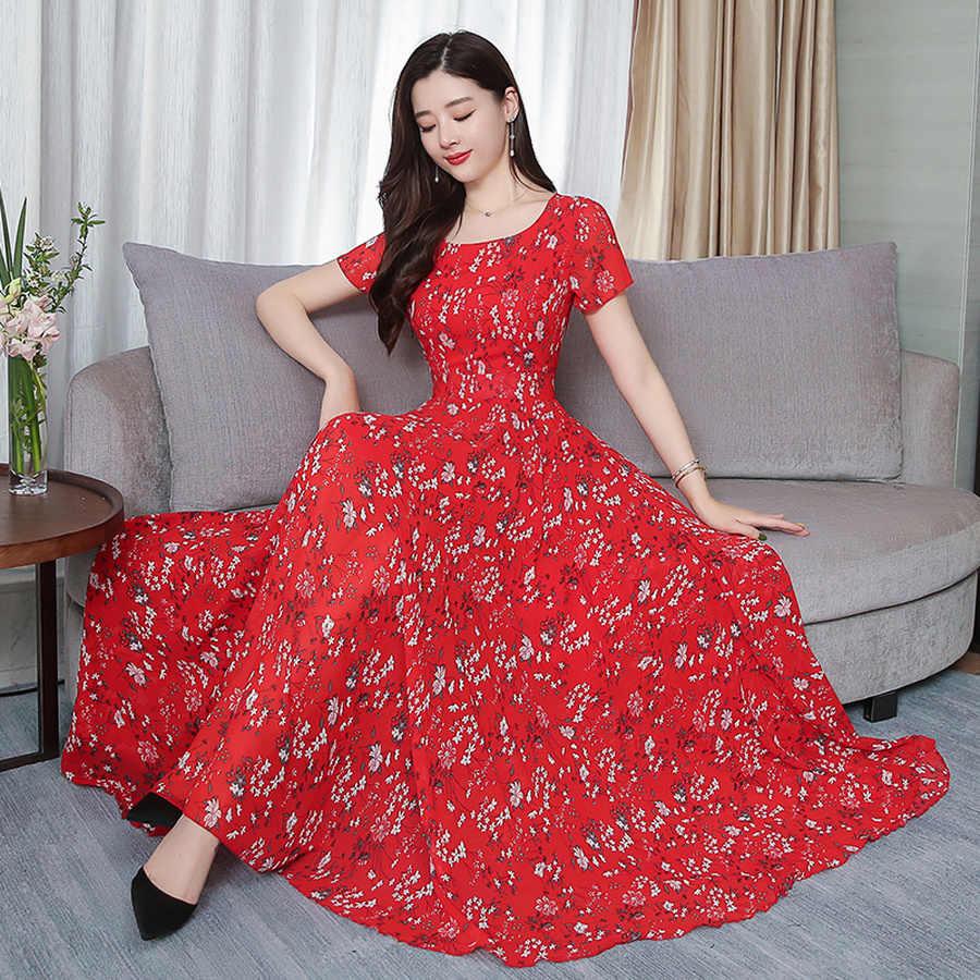 2019 шифоновое пляжное платье миди с принтом, летнее винтажное платье 4XL размера плюс, бохо Макси Сарафан, элегантные женские облегающие вечерние платья