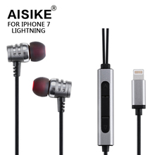 Original high quality in-ear Microphone for iphone 7 Plus HIFI Stereo Bass earphone for Lightning Digital Music headset